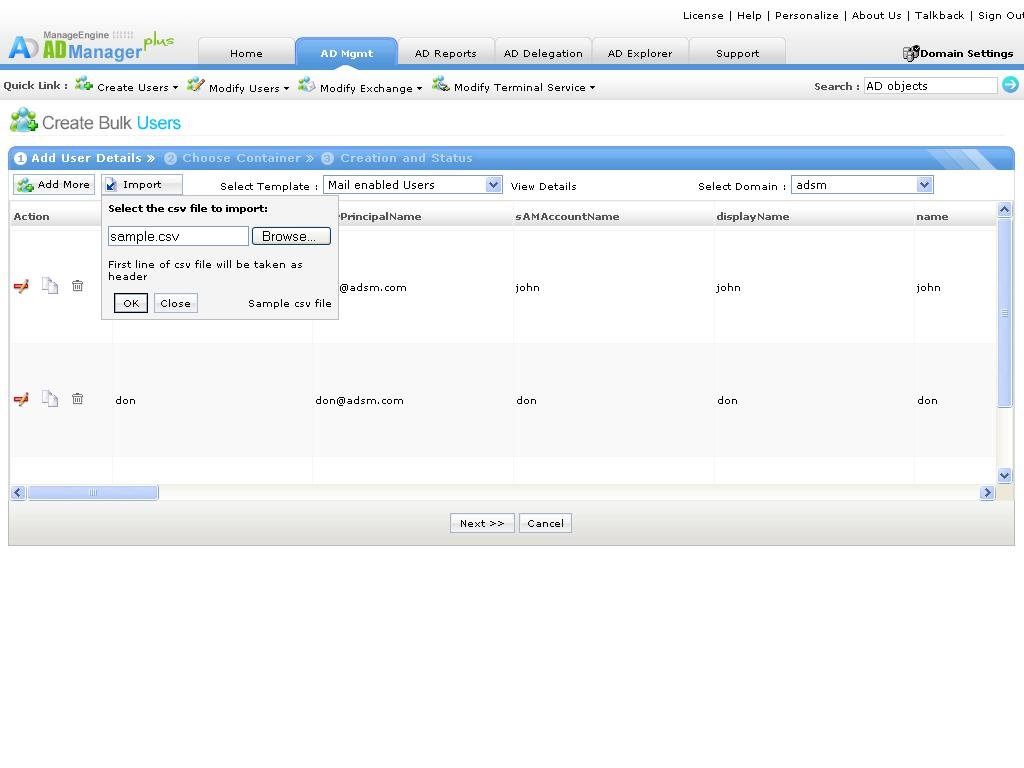 Windows Active Directory Bulk User Management Using Csv